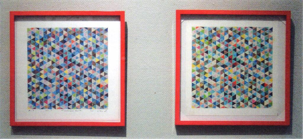 「おーくん・あきら『版』世界」展(2006年 茅ヶ崎美術館)マニキュアアートオリジナル(右)とジークレ版画(左)比較展示