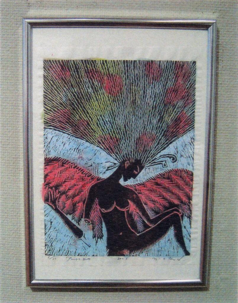 「おーくん・あきら『版』世界」展(2006年 茅ヶ崎美術館)木版裏彩色(2005年)展示