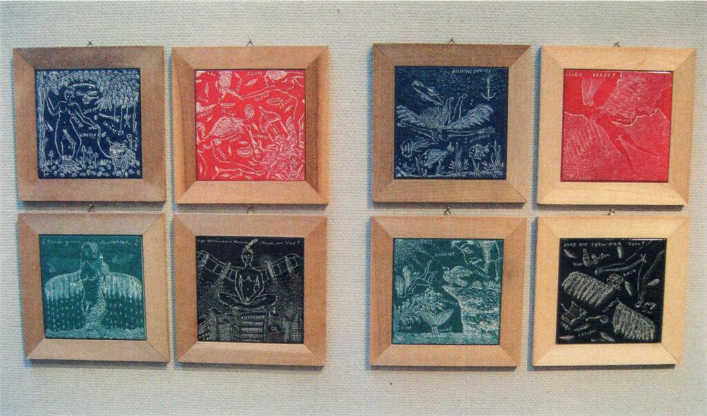 「おーくん・あきら『版』世界」展(2006年 茅ヶ崎美術館)タイルスクラッチイラストレーション(2001〜2005年)展示