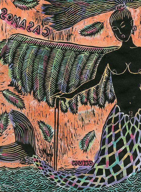 おーくん・あきらの作品 木版裏彩色「TONTA」